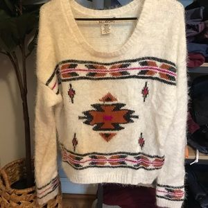 Billabong fuzzy sweater with Aztec detail